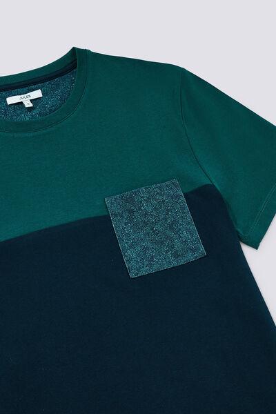 T-shirt color block poche imprimée