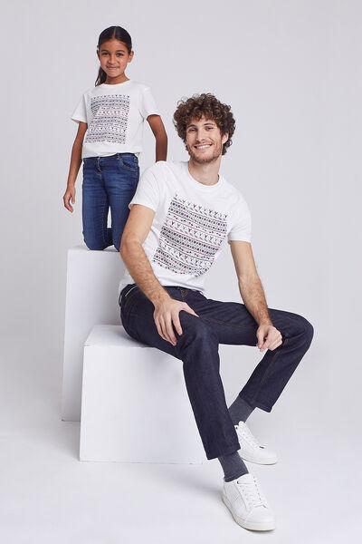Ensemble Mini moi Tee shirt Cerf graphique - Ecru