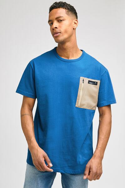 Tee-shirt oversize poche zippée contrastée