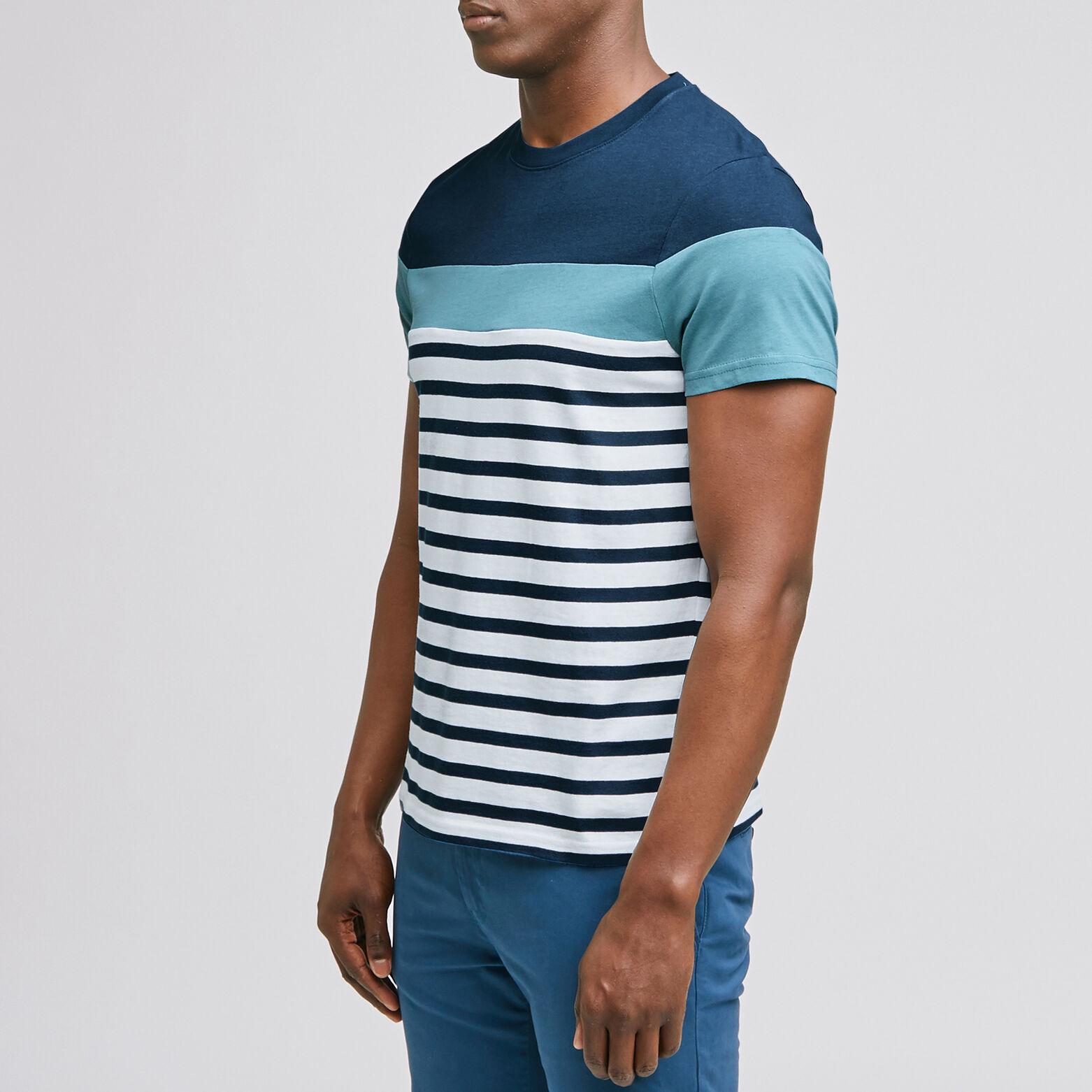 Tee-shirt marinière colorblock coton issu de l'agr