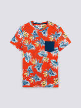 Tee shirt manches courtes imprimé all-over hibiscu