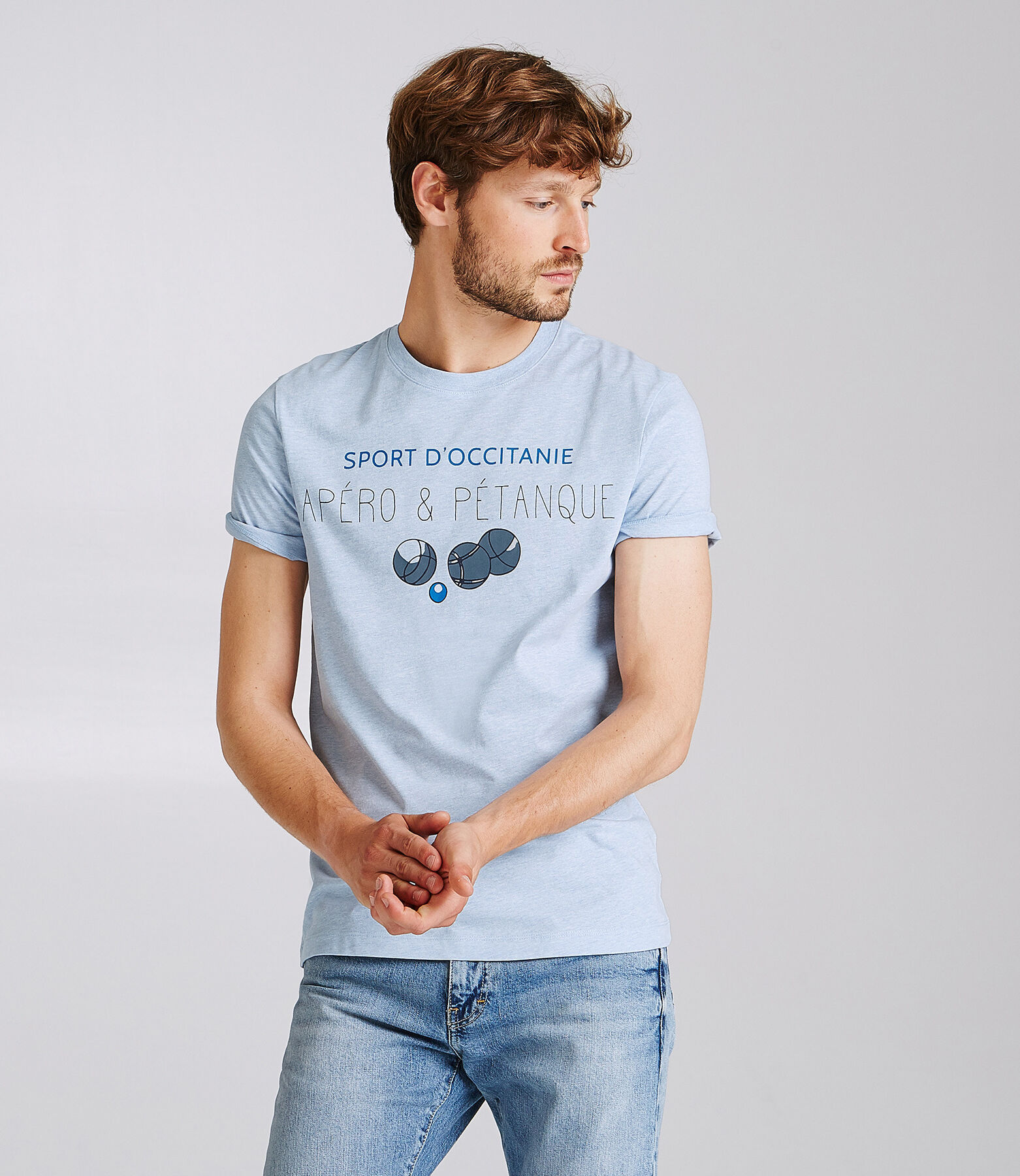 T-shirt met opdruk Apéro et Petanque, knipoog naa