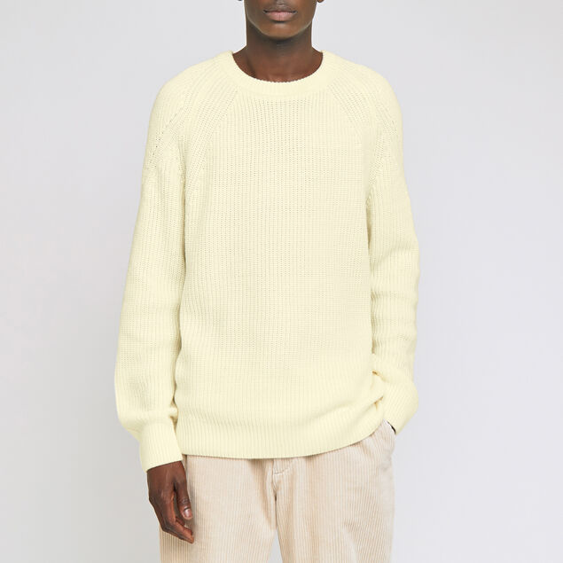 Pull col rond laineux uni