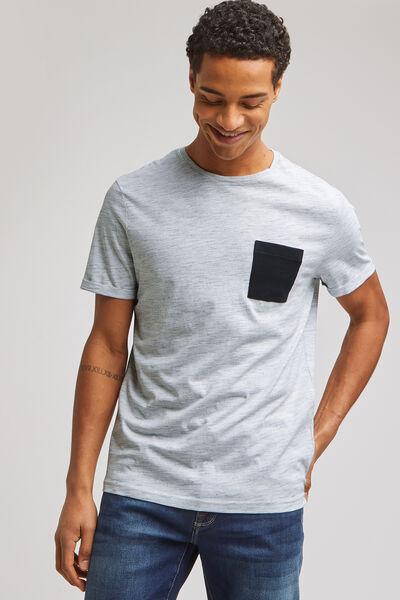 Tee-shirt matière fantaisie poche contrastée en po