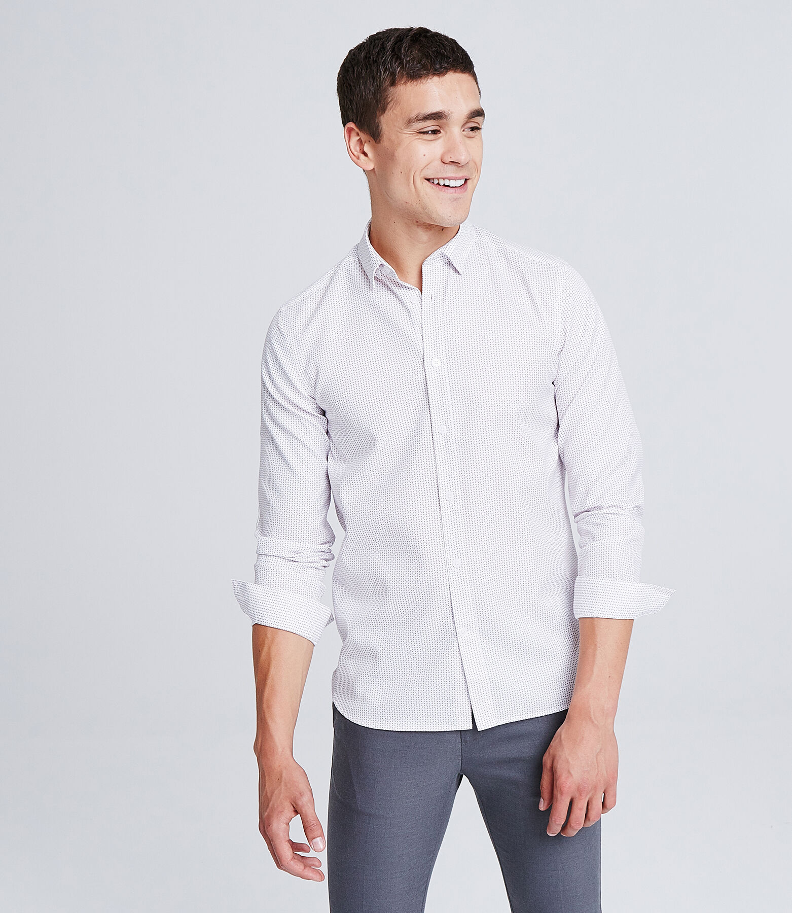 Slim hemd met print, Non Iron