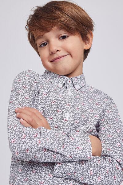 Chemise enfant Slim manches longues, avec imprimé