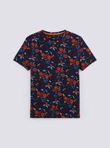 Tee shirt col rond motif feuri