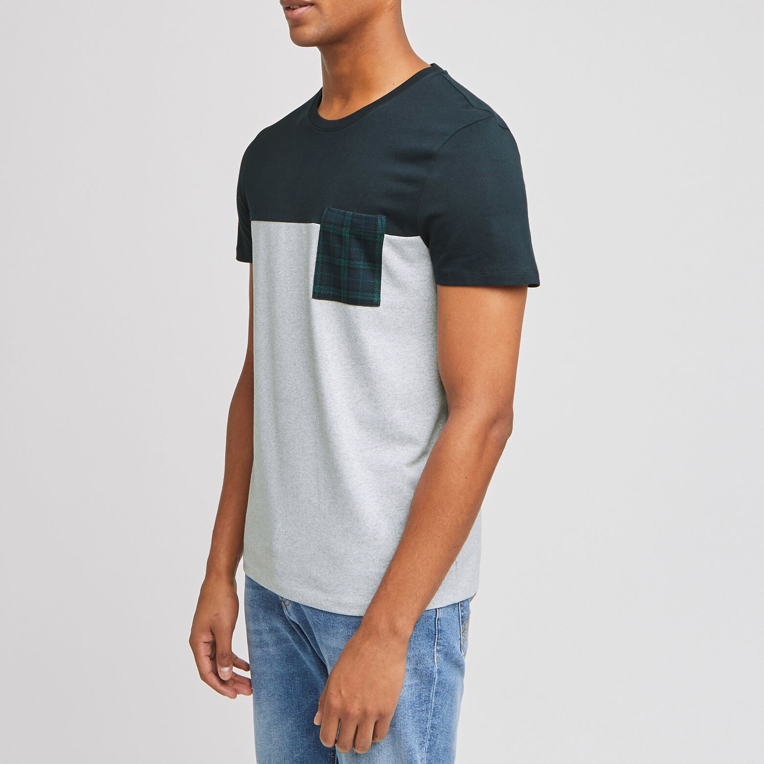 Tee-shirt color block poche imprimée