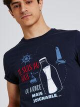 """Tee shirt imprimé """" je suis au bout du monde"""" 100%"""