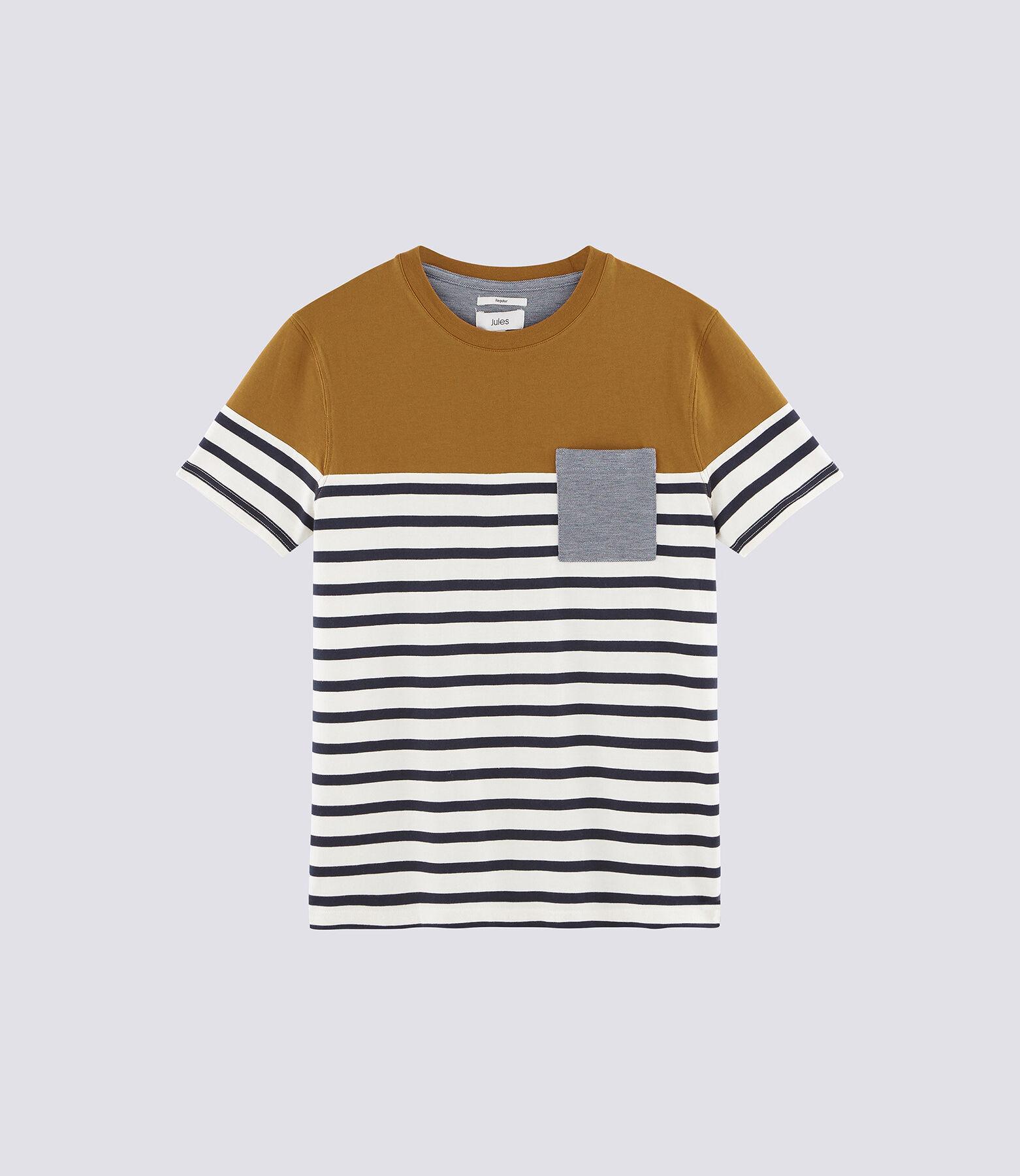 Tee-shirt marinière colorblock avec poche