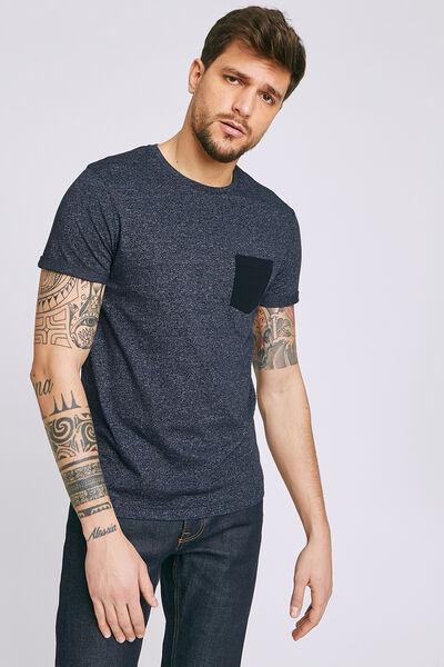 T-shirt in fantasiestof met contrasterende zak