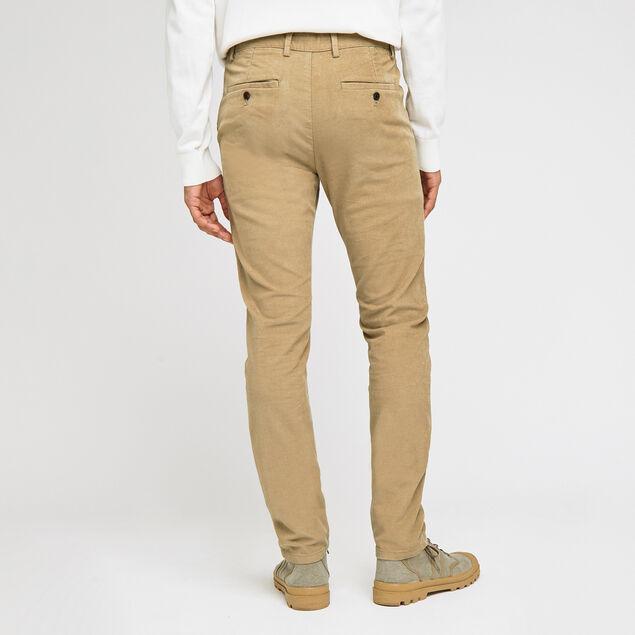 Pantalon chino slim en velours
