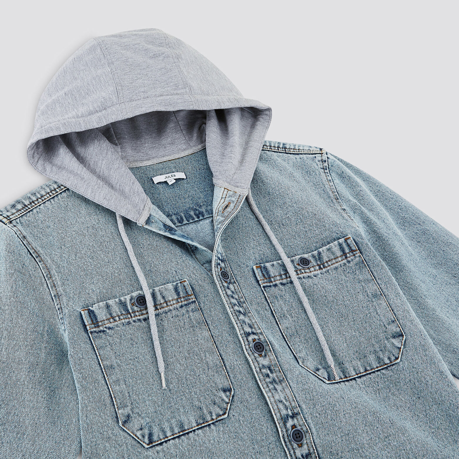 Surchemise regular denim avec capuche