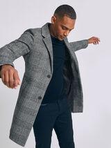 Manteau carreaux - Gris clair