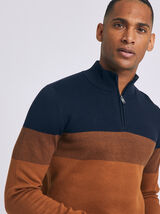 Pull col rond montant colorblock