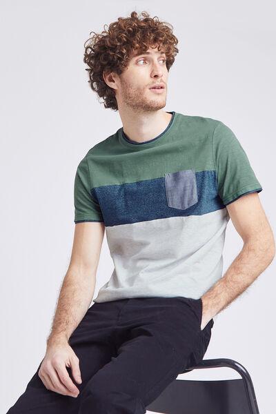 Tee-shirt colorblock matière fantaisie coton issu