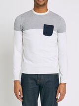 Pull color block bicolore jeu de points - coton is