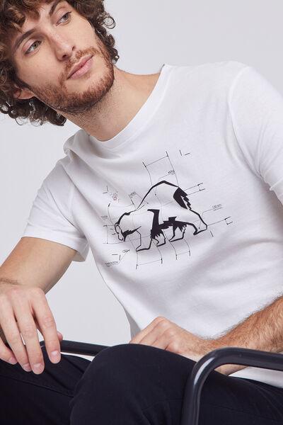 Tee shirt col rond motif imprimé