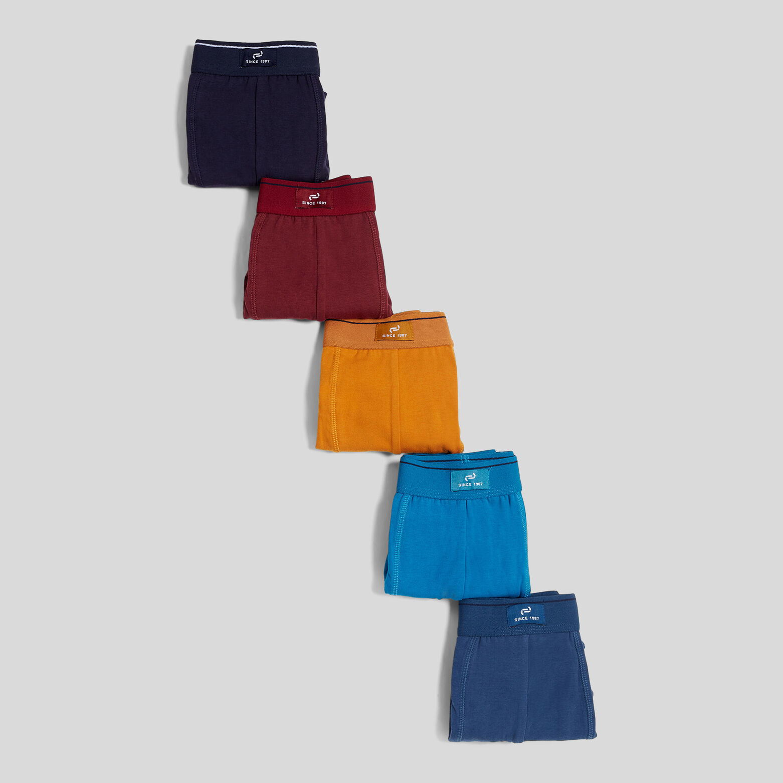 Lot de 5 boxers unis colorés