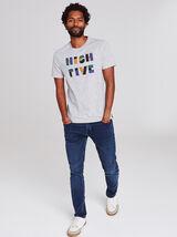 T-shirt met opdruk 'HIGH FIVE' op de borst