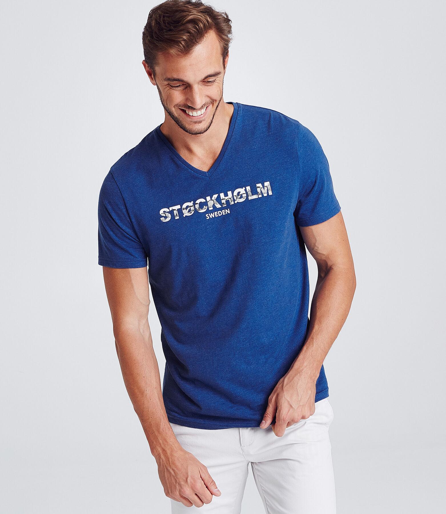 T-shirt met V-hals, slim, 'STOCKHOLM'