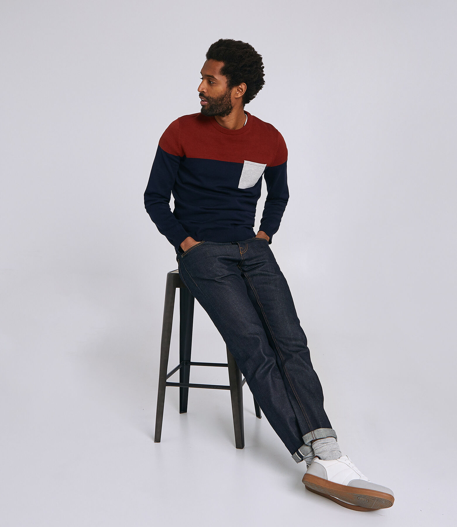 Pull jersey colorblock poche - coton issu de l'agr