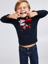 Tee shirt de Noël col rond sequins réversibles