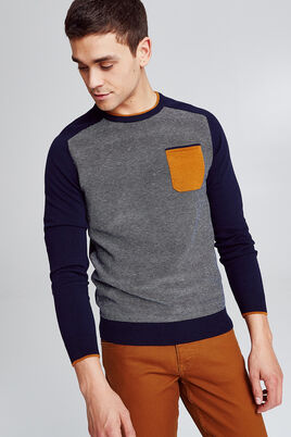 Pull col rond micro jacquard