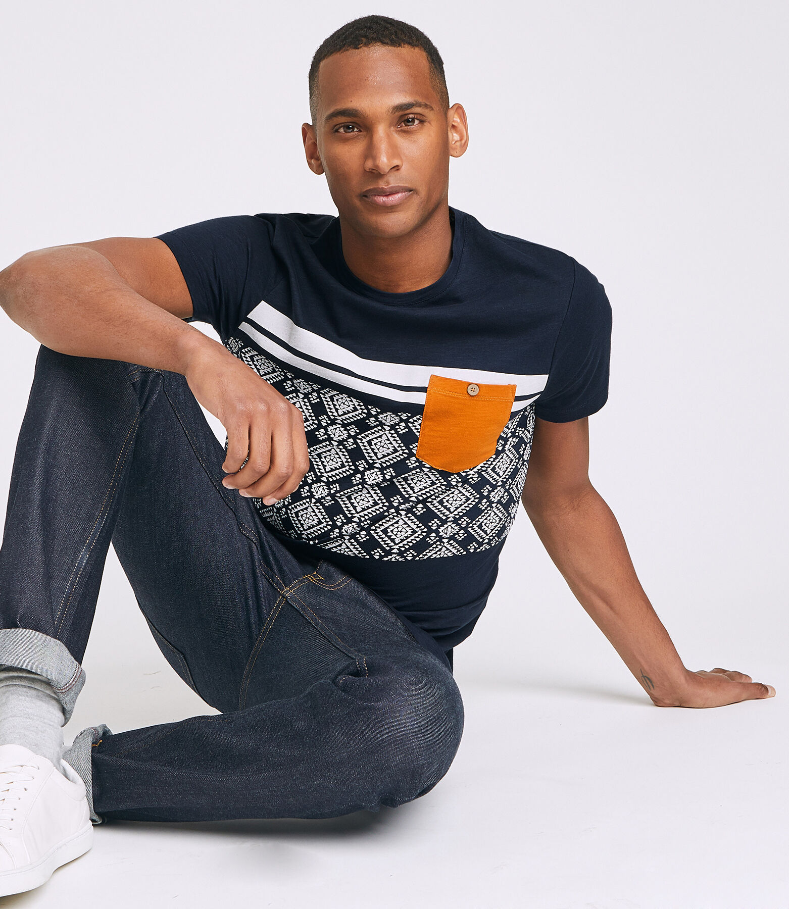 T-shirt colorblock imprimé aztèque