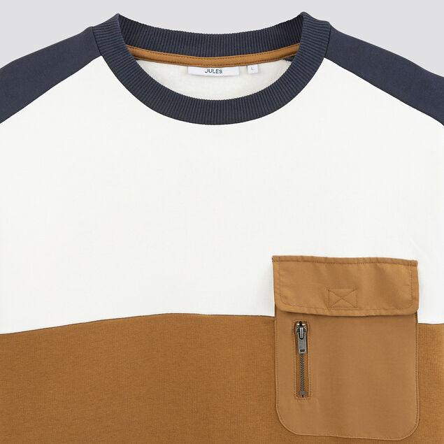 Sweat colorblock poche poitrine