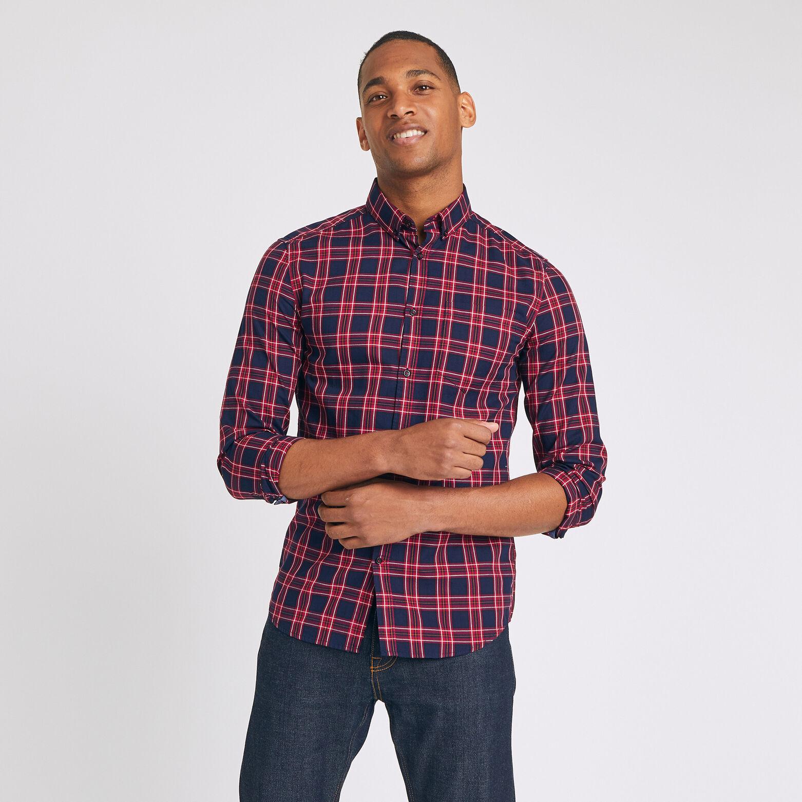 Chemise slim à carreaux pointe boutonnée coton