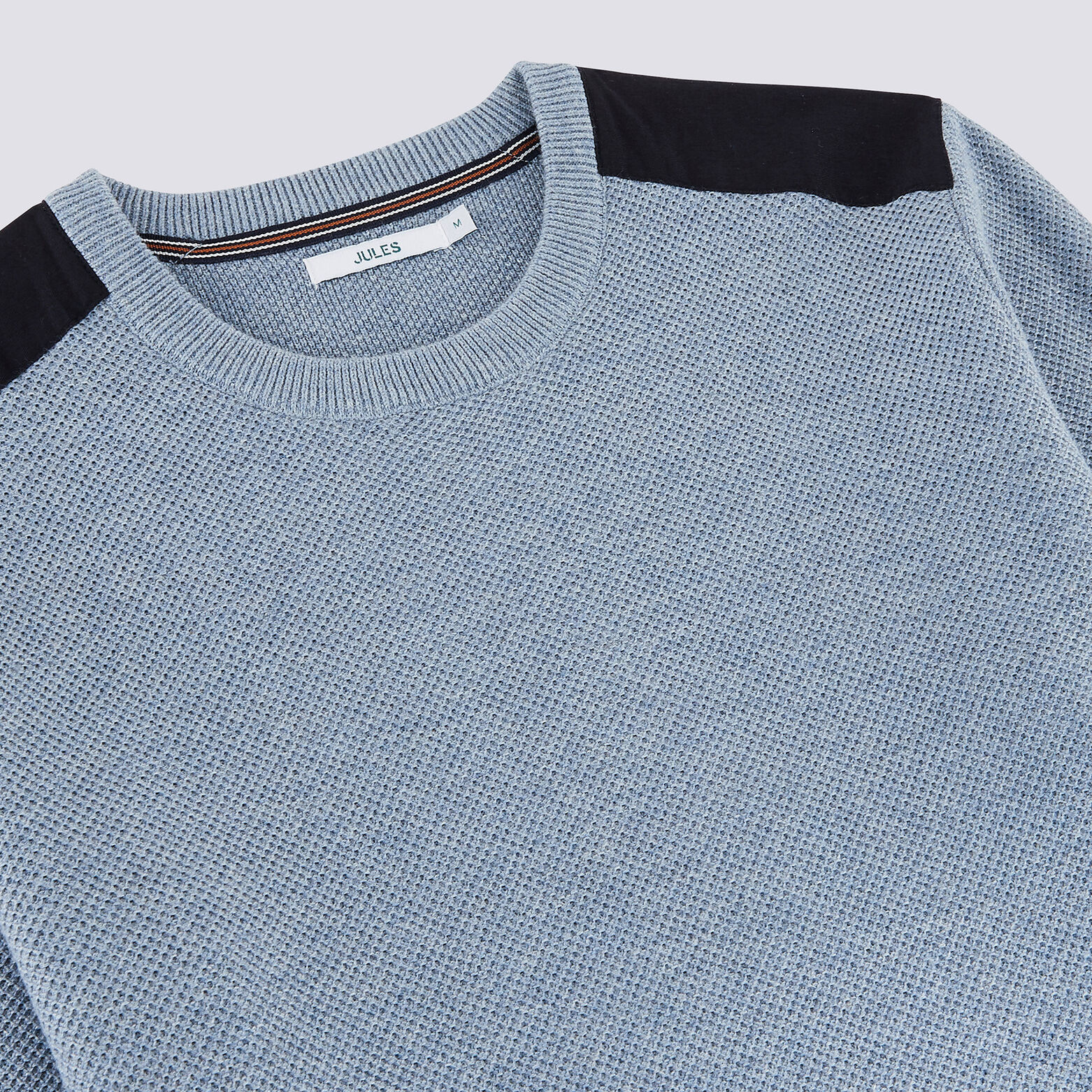 Pull col rond patch épaules