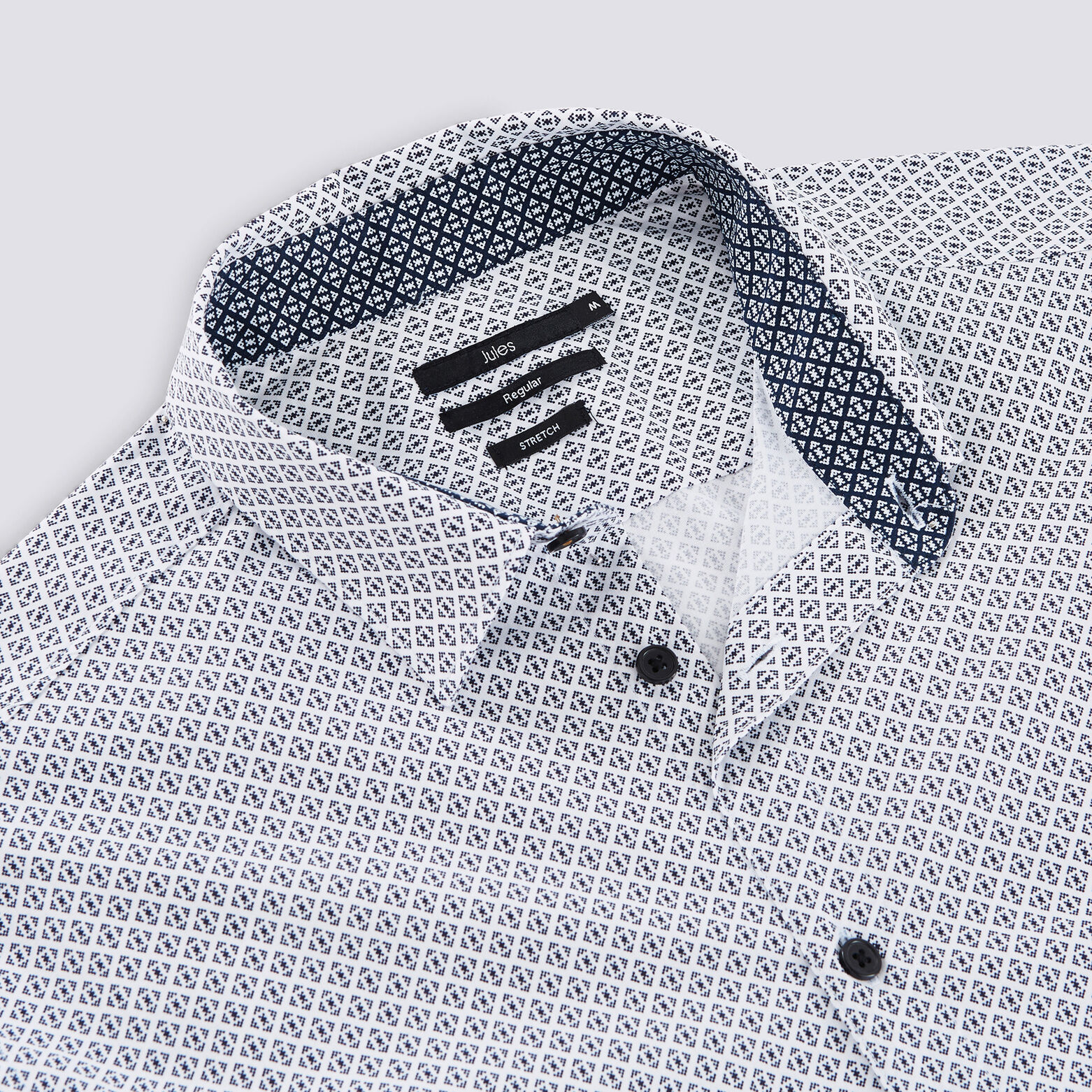 Chemise regular micro motif coton