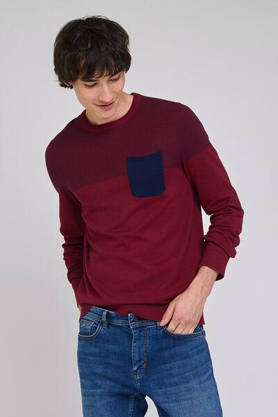 Pull col rond colorblock poche poitrine