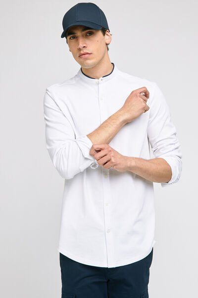 Chemise regular unie col mao maille piquée