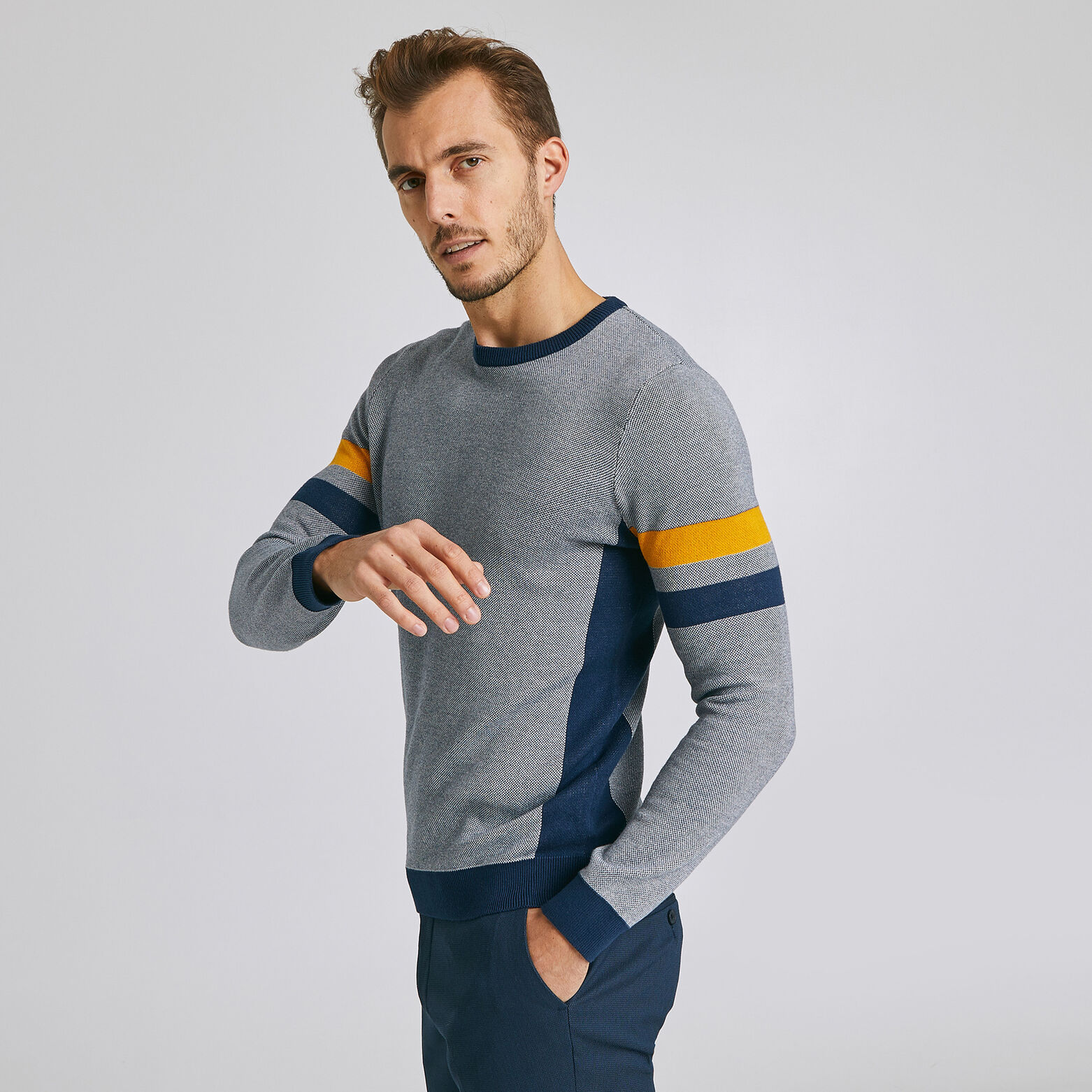 Pull col rond jacquard all-over bandes épaules