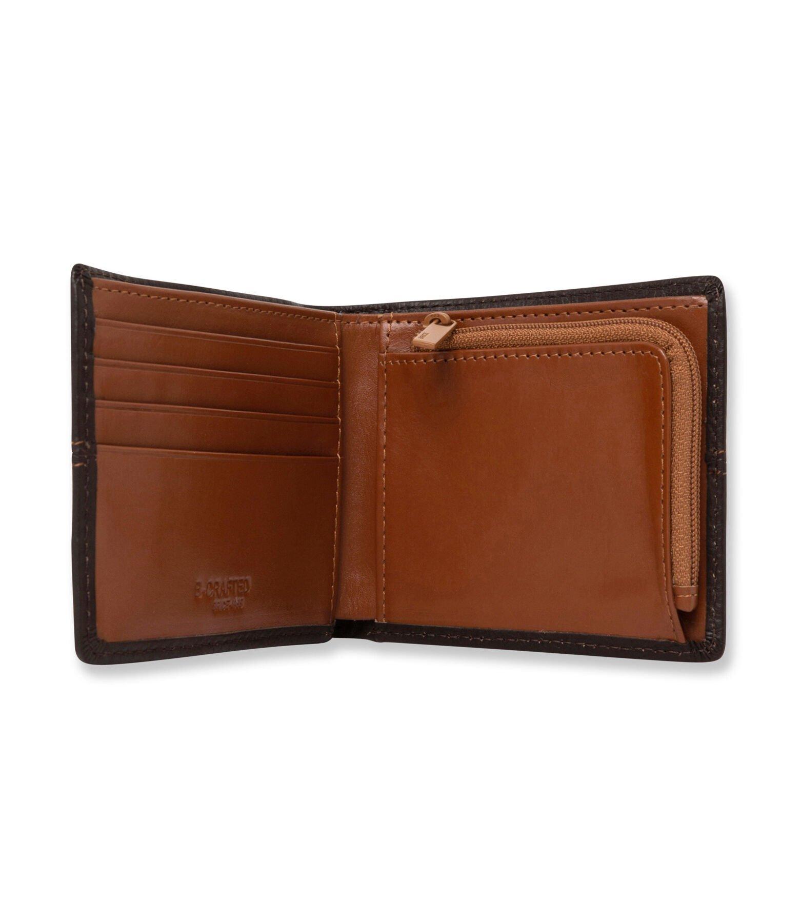 Portefeuille homme horizontal en cuir marron
