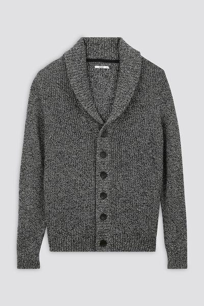 Cardigan boutonne col chale laineux