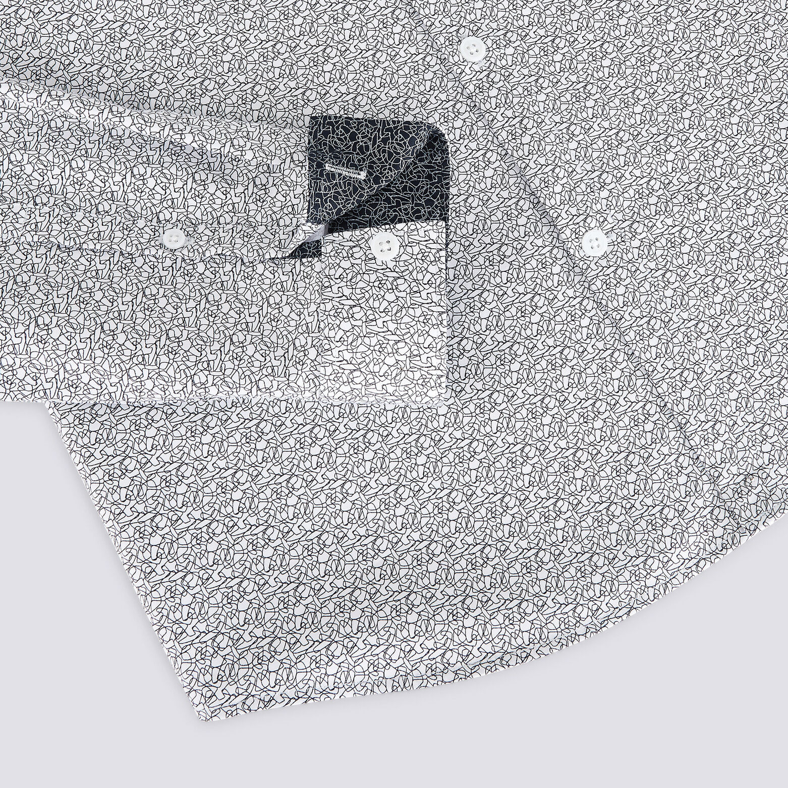 Chemise slim imprimé motif ligne satin de coton