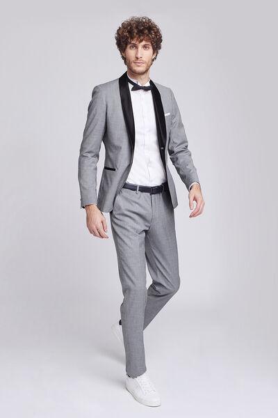 Pantalon de costume slim faux uni