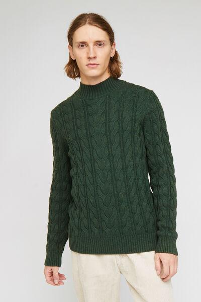 Pull col montant laineux à torsades