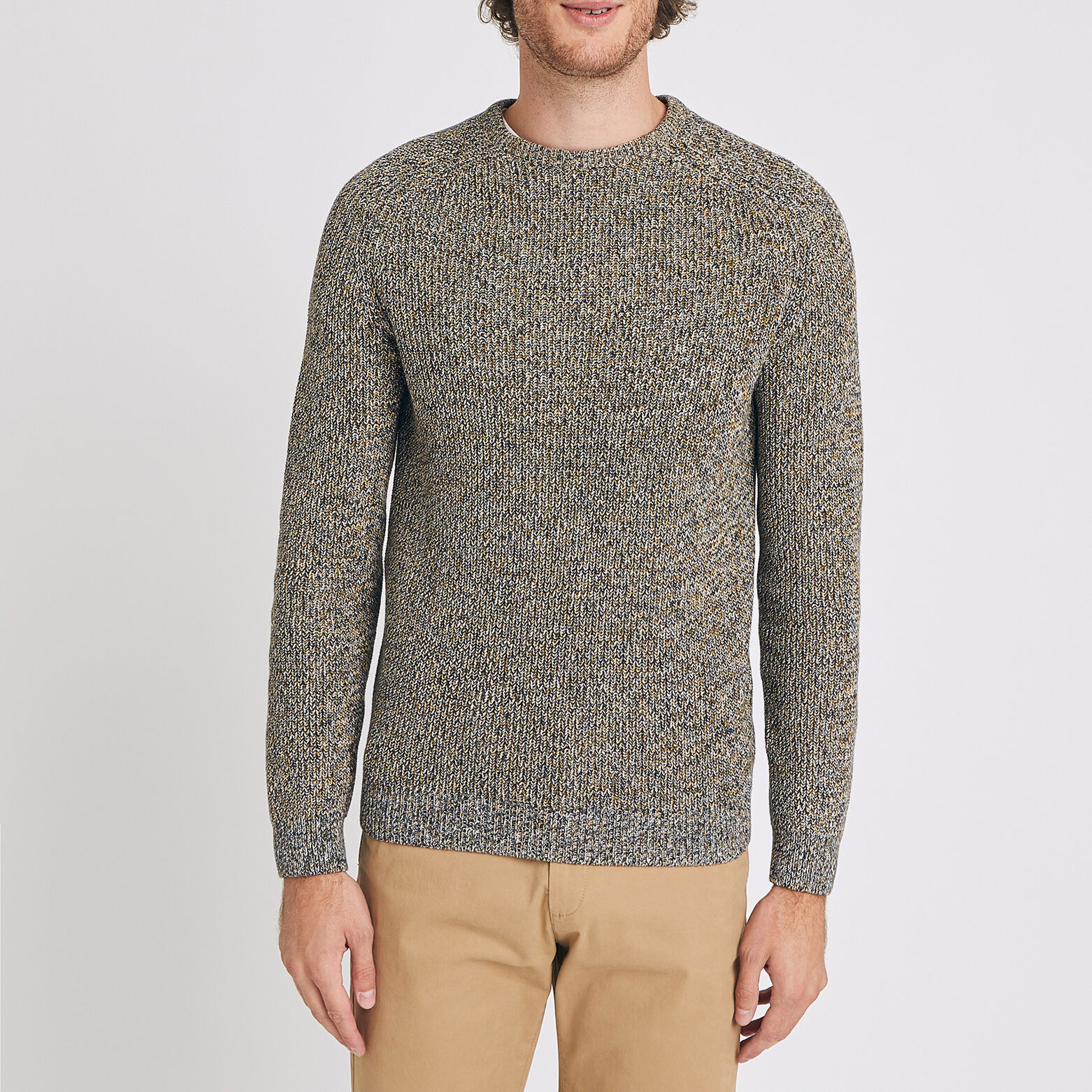 Pull col rond maille moulinée