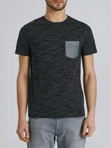 Tee-shirt manches courtes regular poche chambray