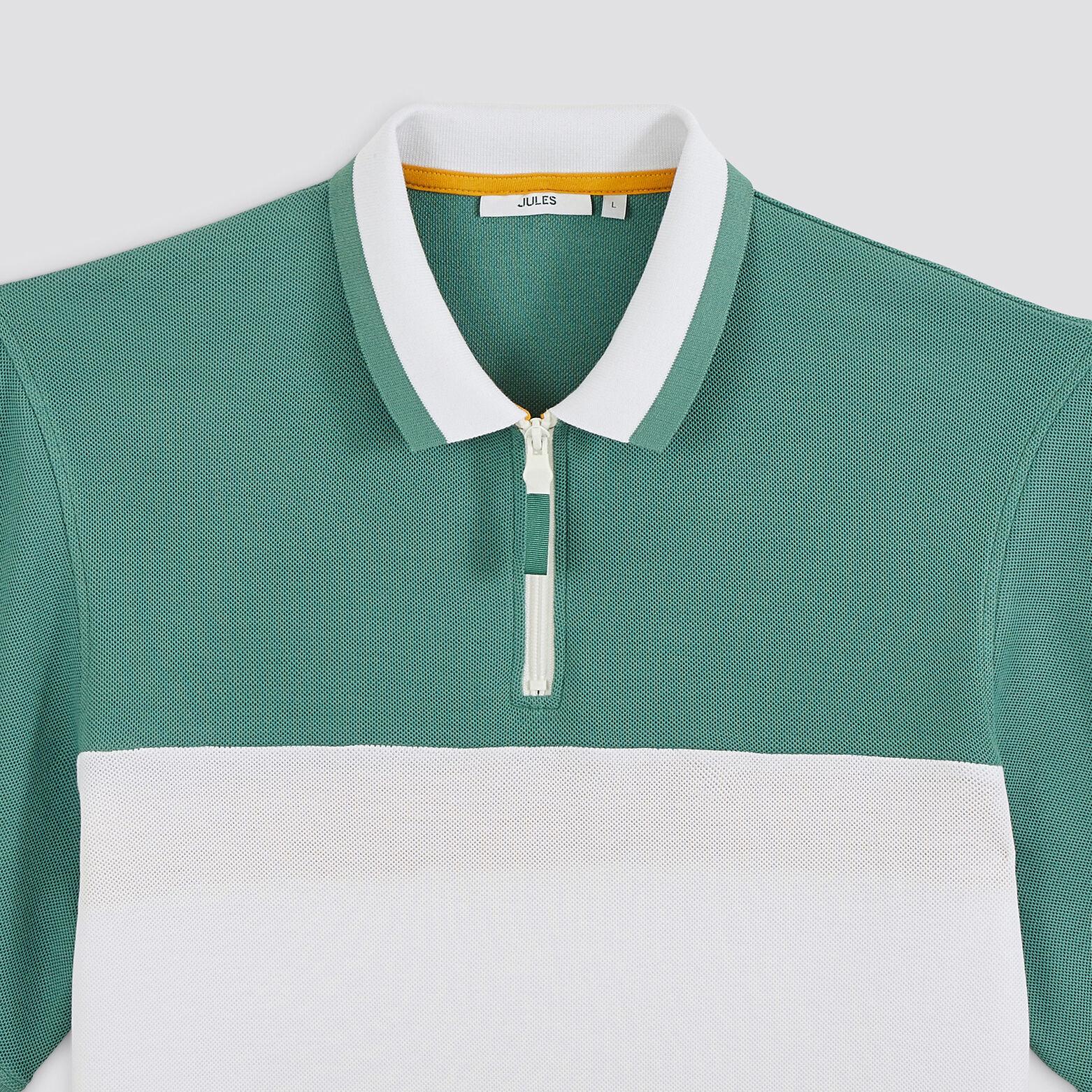 Polo manches courtes zippé colorbloc