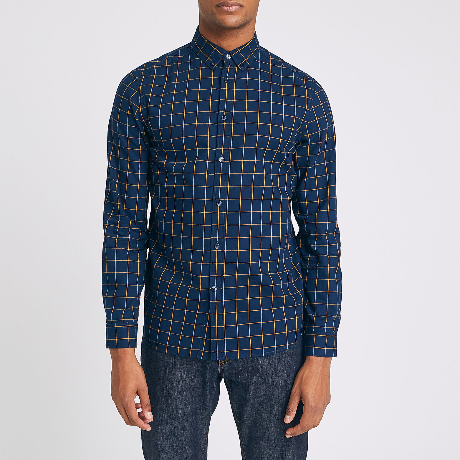 Chemise regular à carreaux twill coton