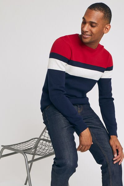 Pull en maille colorblock