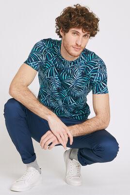 Tee shirt col rond motif feuillage