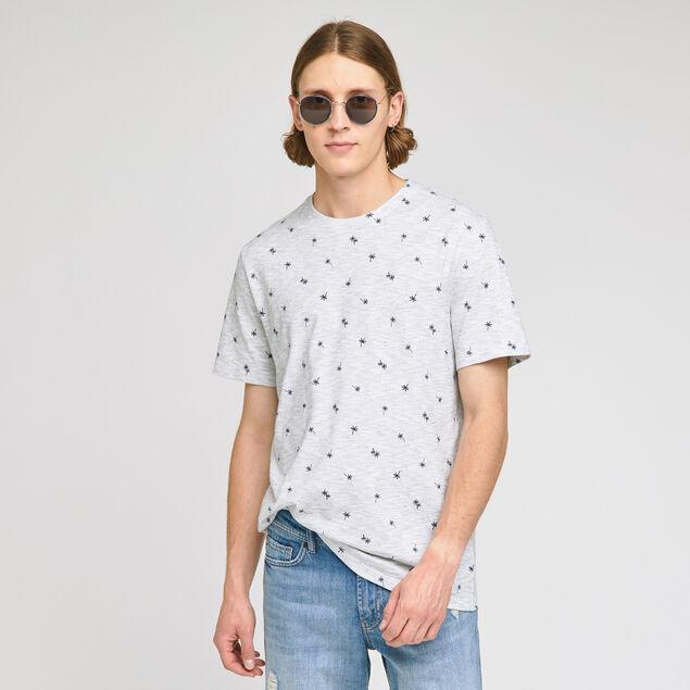 Tee-shirt imprimé palmier sur matière fantaisie