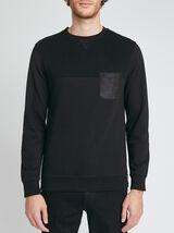 Sweatshirt col rond poche en suédine