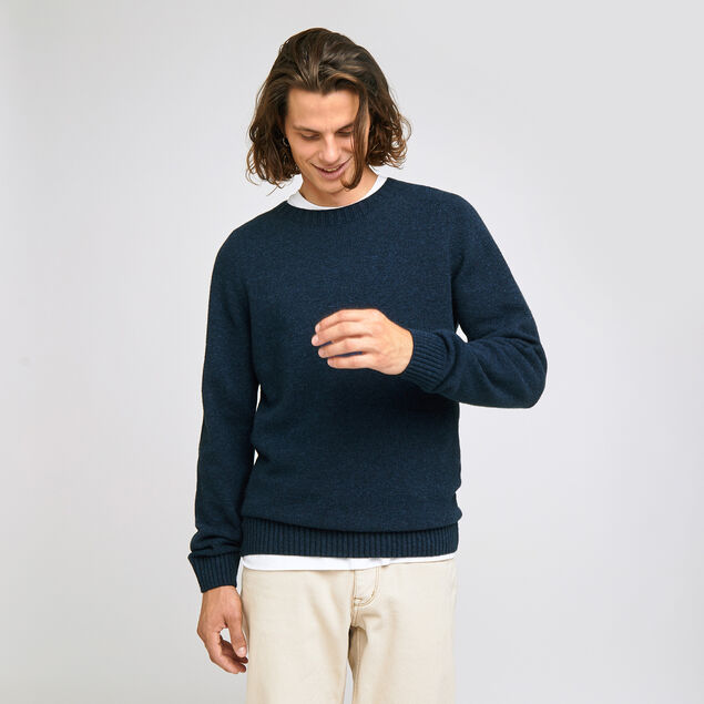 Pull sans couture col rond en laine